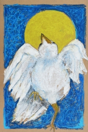 """Dancin in the Moonlight by Leah McCloskey 13 x 17"""" mixed media on archival craft paper"""