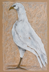 "Bird of Prey by Leah McCloskey 13 x 17"" mixed media on archival craft paper"