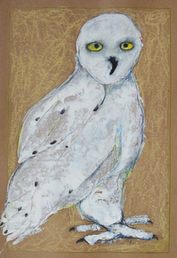 "Olwen the Snowy Owl by Leah McCloskey 13 x 17"" mixed media on archival craft paper"