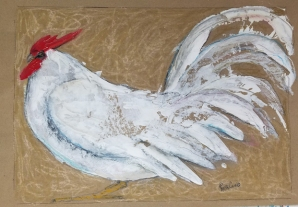 "Rosecombed Rooster by Leah McCloskey 13 x 17"" mixed media on archival craft paper"