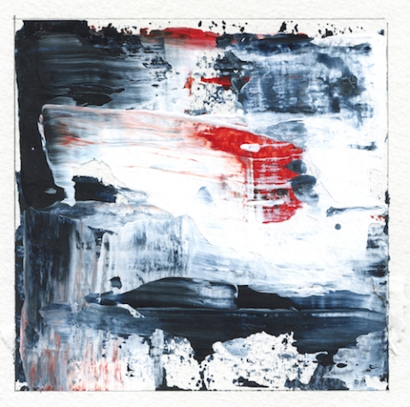 """Delving Deep II Leah McCloskey acrylic on paper 6 x 6"""" matted 12"""" x 12"""""""