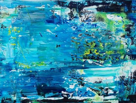 """Drifting on the Pond Leah McCloskey acrylic on canvas 40"""" x 30"""""""