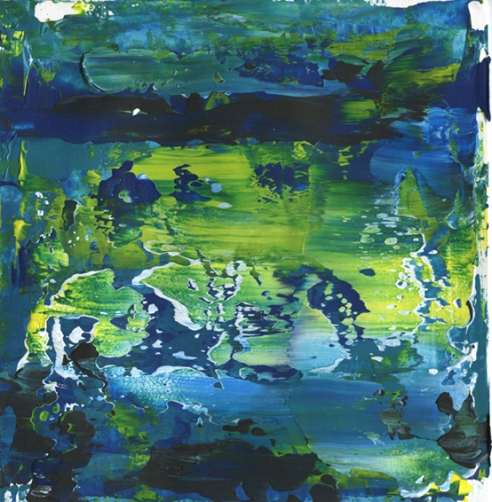 """Pond Drifting Leah McCloskey acrylic on paper 8 x 8"""" matted 12"""" x 12"""""""