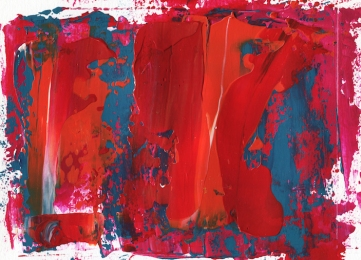 "Red Wind Delving Deep Leah McCloskey acrylic on paper 11 x 7 matted 14"" x 11"""