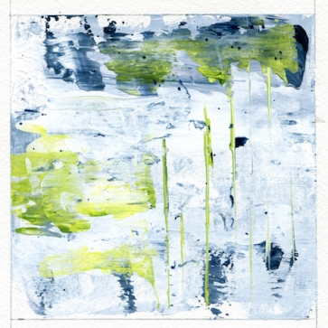 """Reflections of Spring I Leah McCloskey acrylic on paper 6 x6"""" matted 12"""" x 12"""""""