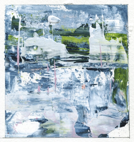 """Reflections of Spring II Leah McCloskey acrylic on paper 6 x 6"""" matted 12"""" x 12"""""""
