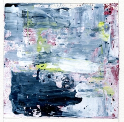 """Reflections of Spring I Leah McCloskey acrylic on paper 6 x 6"""" matted 12"""" x 12"""""""