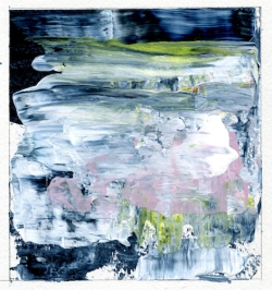 """Reflections of Spring III Leah McCloskey acrylic on paper 6 x 6"""" matted 12"""" x 12"""""""