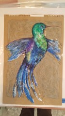 Jewel Hummingbird Study oil pastel, acrylic and in on paper matted to 18″x 24″ $45