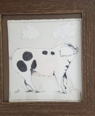 Spot the Pig ink, and cray pas, on paper framed 13 x 13.5″ $70