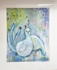 Fairy Grouse matted 25.5″ x 21″ mixed media $60