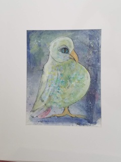 The Spotted Bellied BooBoo Mixed media on paper matted 20″ x 16″ $50