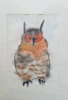 Owl Watercolor 16 x 20″ Matted $50