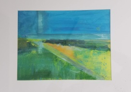 SOLD Landscape Study Oil #11 on paper 20 x 16″ matted $50