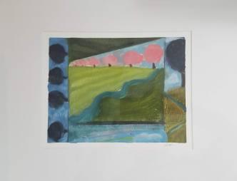 Floorcloth Design Oil on Paper 20 x 16″ $40
