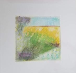 Landscape Study #8 oil pastel, graphite on paper 16 x 16″ matted $40