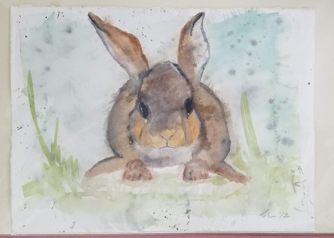 Bunny watercolor 15″ x 11″ not matted $40