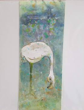 Pale Flamingo mixed media 10″ x 4″ not matted $25